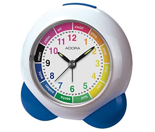 Adora Lernwecker Kinderwecker Quarz in weiß/blau mit Lernzifferblatt   Stunden-Farbfelder, Minuten 33387