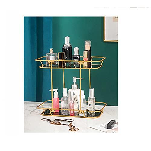 Estante de almacenamiento cosmético de 2 capas estante de almacenamiento cosmético para tocador y encimera con bandeja de mármol cesta de vanidad