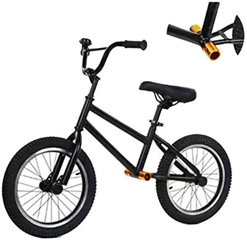 Knoijijuo Balance Bikes Sport Balance Bike 16 Zoll Schwarz, High Carbon Stahl Stativ, Balance Bike Für Carry Oft Out-of-Home, Kein Pedal-Gehen