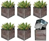 "CYS EXCEL Rustic Cube Planter Box, Wood Planter, Decorative Craft Box, Succulent and Floral Arrangements, Wood Box with Removable Liner H:4"" Open:4x4 (Pack of 6)"