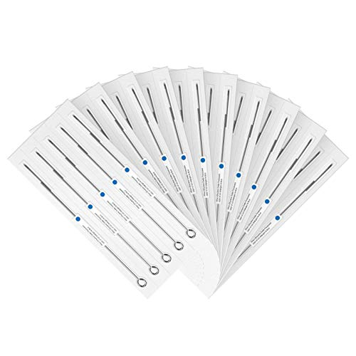Wormhole 1RL Tattoo Needles 1 Round Liner #12 Standard Disposable & Sterilized Tattoo Lining Needles with Blue Dot - Box of 50 (1201RL)