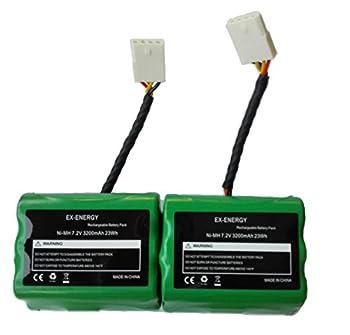 EX-ENERGY 7.2V 3200mAh Battery Compatible for Neato XV-11 XV-12 XV-14 XV-15 XV-21 XV-25 XV Essential XV Pro Robotic Vacuum Cleaners Replacement Neato Battery 2 Pack