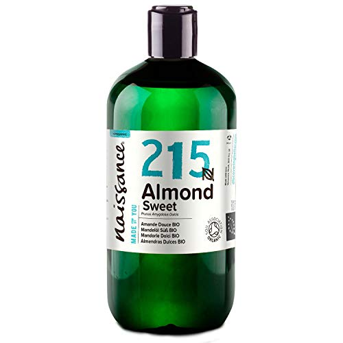 Naissance Huile d'Amande Douce BIO (n° 215) Pressée à froid – 500ml – 100% pure et certifiée BIO, végan, sans OGM – parfaite pour les massages, le soin des cheveux et de la peau
