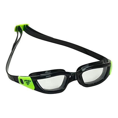 Phelps Schwimmbrille Tiburon Premium Competition Spec Antibeschlag, Transparente Gläser, Schwarz/Limette