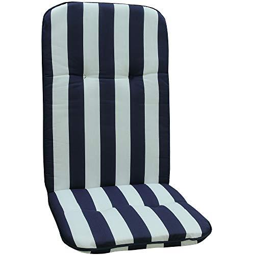 nxtbuy Gartenstuhl-Auflage Capri 114x47 cm Blue & White 6er Set - Hochlehnerauflage für Gartenstühle - Stuhlauflage mit Komfortschaumkern -...