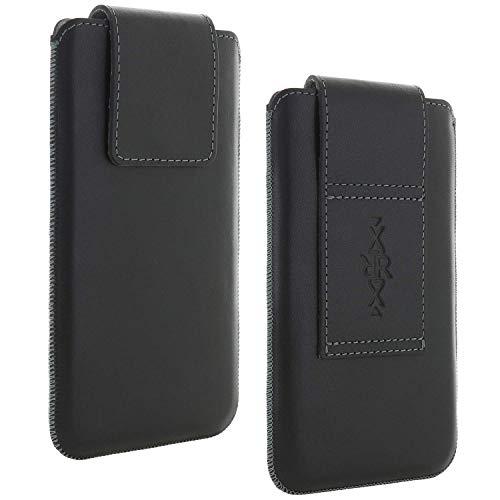 Echt Leder Gürtel universal Handytasche 5XL passend für Huawei Honor 9x - Motorola Moto G 5G Plus / G9 Play - Samsung Galaxy A21s A70 A71 M51 - Note 8 9 / 10 Lite / 10 Plus - Handy Tasche schwarz