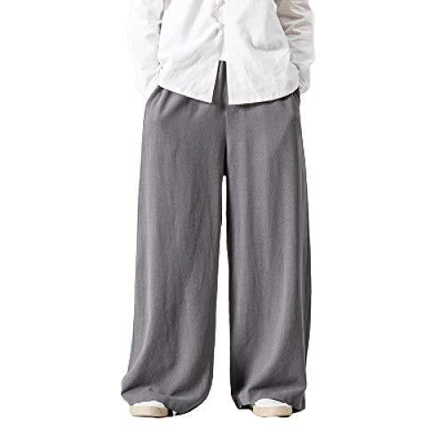 Pantalones de Hombre otoño e Invierno Pantalones de Falda Suelta de Gran tamaño Pantalones Largos de algodón y Lino de Estilo Chino Pantalones Anchos de Marea Pantalones Harem Casuales