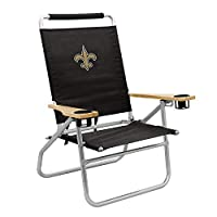 Logo Brands NFL New Orleans Saints Unisex Retreat CabanaBeach Chair, Black, One Size