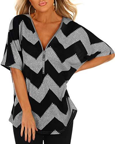 YOINS Tshirts Damen Sommer V-Ausschnitt Gestreift Oberteil Kurzarm Oversize Carmen Shirt Sexy Bluse Tunika Tops
