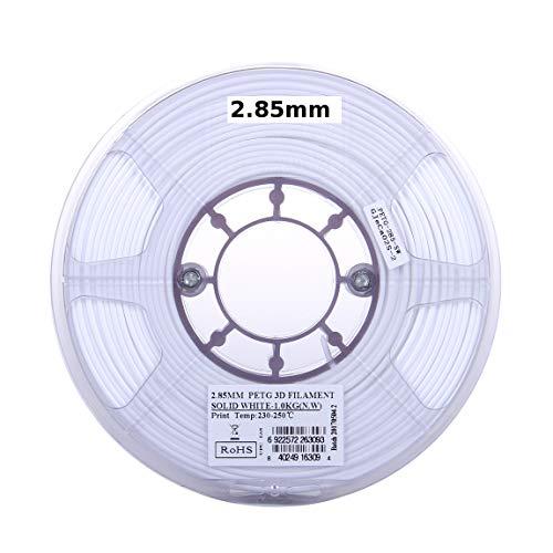 eSUN Filament 3D PETG 3 mm Blanc Massif 1 kg Filament pour imprimante 3D PETG, diamètre réel 2,85 mm +/- 0,05 mm, Blanc Opaque Massif