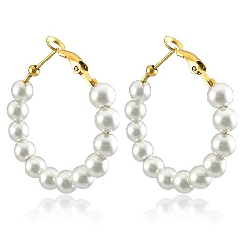 RONLLNA Pearl Hoop Earrings for Women