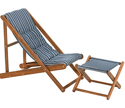 Dehner Strandstuhl und Hocker Macao, Stuhl ca. 104 x 59 x 90 cm, Hocker ca. 51 x 50.5 x 37 cm, FSC Akazienholz, blau/weiß