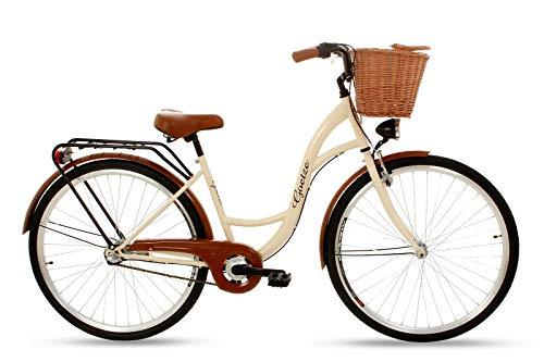 Goetze Classic Vintage Citybike Hollandrad Damenfahrrad Stahl Gestell Tiefeinsteiger 26 Zoll Alu Räder mit Rücktrittbremsen 3 Gang Shimano Nexus Nabenschaltung Weiden Korb Inklusiv!