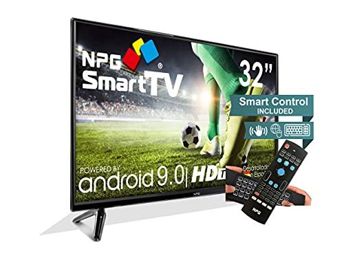 NPG 430L32HQ 2021-32  HD Smart TV e telecomando esclusivo con tastiera QWERTY e funzione Motion, Android 9.0, processore Quad Core, WiFi, DVB-T2 C, PVR, Screen Mirroning, Smart TV multilingue.