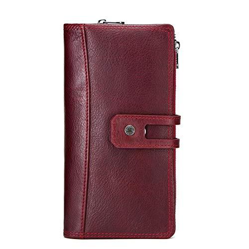 Billetera de Mujer Billetera de Cuero Capa Superior Hebilla de Cuero Cremallera Boca Grande Billetera de múltiples Tarjetas, Rojo Italiano