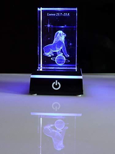 C-Kom 3D Sternzeichen Löwe personalisiert Glaskristall Glasgravur Kristallglas Geschenke