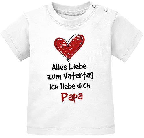 MoonWorks® Baby T-Shirt Kurzarm mit Spruch Alles Liebe Papa Vatertagsgeschenk Jungen Mädchen weiß 56/62 (1-3 Monate)