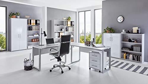 BMG-Moebel.de Büromöbel komplett Set Arbeitszimmer Office Edition in Lichtgrau/Weiß Hochglanz (Set 7)