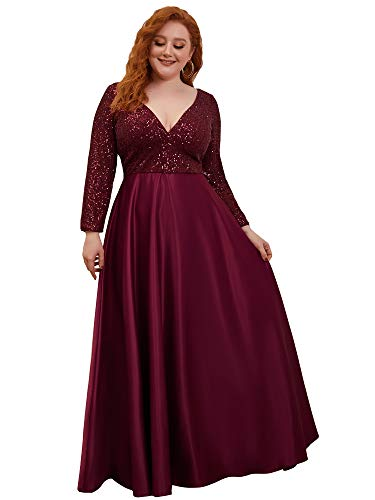Ever-Pretty Robe de Soirée Manches Longues Grande Taille Col en V A-Line Paillettes Satin Femme Bordeaux 50
