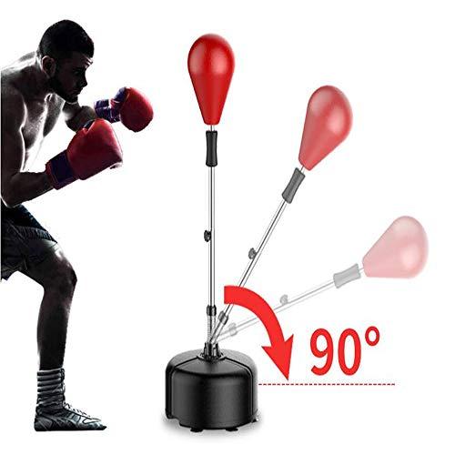 WXH Boxing Punching Speed Ball Magiereaktionstrainer, höhenverstellbarer Ständer, Starke, langlebige Feder, die harten Schlägen standhält, für Stressabbau,red