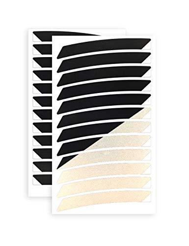 reflexsticker für Fahrradfelgen | schwarz oder weiß | 24 Streifen im Set | für 26 bis 29 Zoll Felgen | weiß reflektierend | Reflektoren-Aufkleber fürs Fahrrad Mountainbike (26ʺ, schwarz)