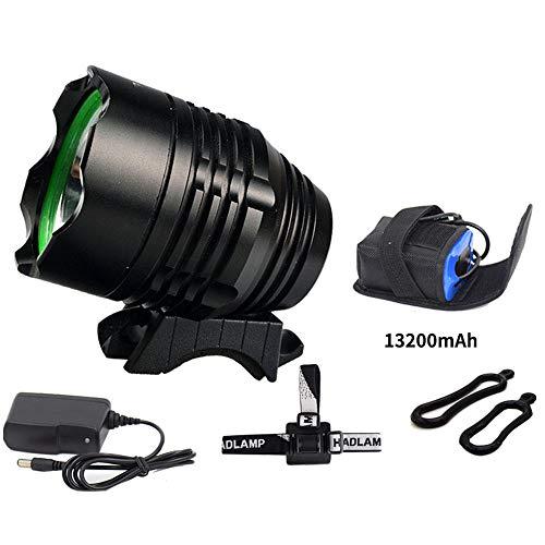 DIANAR Fahrradlicht, LED Fahrradbeleuchtung Fahrrad Lampe, IP65 wasserdicht, 3-Dimmbar, 13200 mAh-Akku, 200 m Reichweite Fahrradscheinwerfer-Schwarz