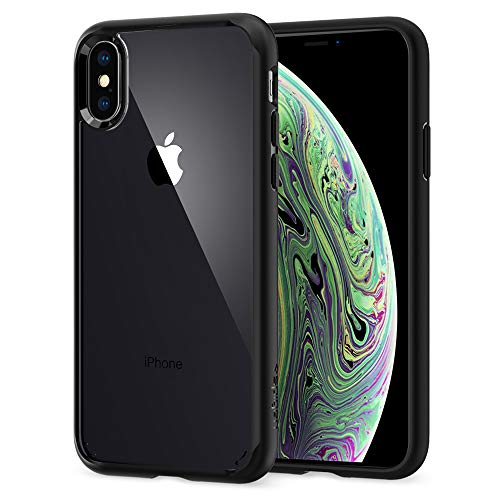 Spigen Coque iPhone XS, Coque iPhone X [Ultra Hybrid] Noir, Protection Coin AIR Cushion, Bumper Renforcé en Silicone, Dos Rigide en PC Compatible avec iPhone X/XS