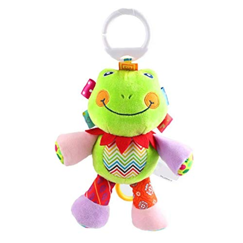 Bebé Musical Cuna Cochecito Juguetes campanilla calmante juguete lindo animal del traqueteo de la muñeca rellena para bebés y niños pequeños niños Cuna SQUEAKER Juguetes 1Pc rana niños juguetes