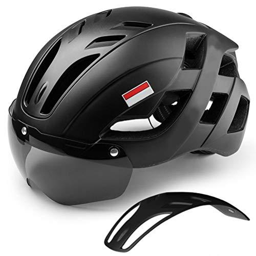 ABCDJHH Casco de bicicleta para adultos ajustable con luz trasera recargable USB y gafas de protección, luz trasera recargable USB