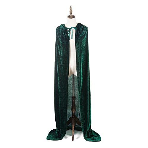"""Mayplous Disfraces de Halloween Mujer Hombre Cosplay Capa Larga Capa Vestido Elegante para Juego de Roles (Verde Oscuro, 150cm / 59"""")"""
