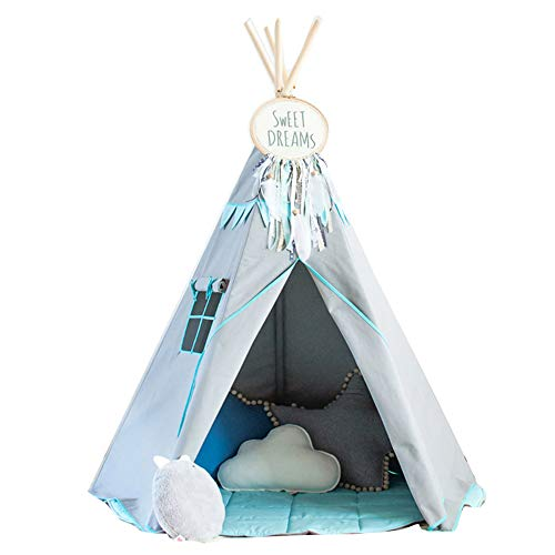 RONGFA 2020 new children indoor play tent kids teepee grey with green (Standard models)