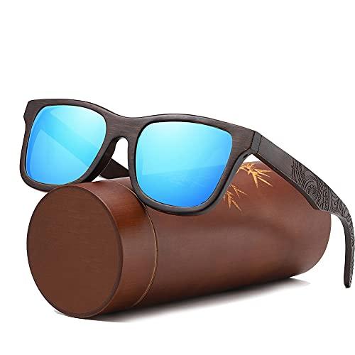 Gafas de sol de madera de bambú para hombres con lente polarizada 3D talla patrón ultraligero retro 100% UVA/UVB rayos protección gafas de sol