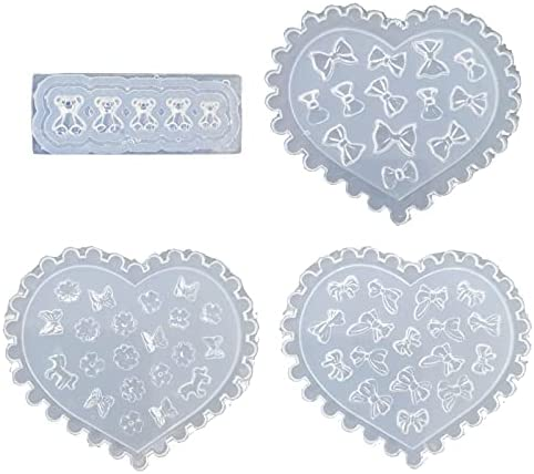 4Pcs Silicone Jewelry Mold Flower R Max 57% OFF Epoxy Bear Now free shipping Bowtie Resin