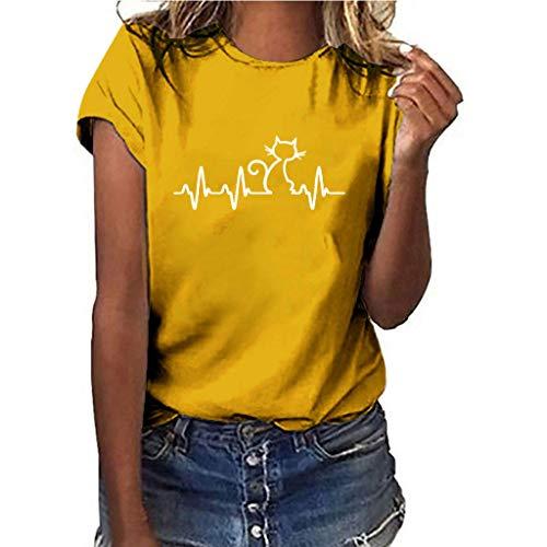 TOPKEAL Camisetas de mujer para verano, blusas informales, tallas grandes, de manga corta amarillo M