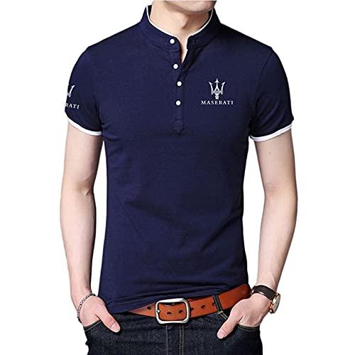 CONVERMPU Camisa de cuello alto para hombre Camiseta de manga corta con estampado de LOGOTIPO Ma-sera-ti Camisetas de polo de algodón para hombres y mujeres Retro/Azul/XS