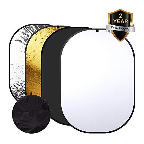 Heorryn 4-in-1 whitescreen Fotografie,150 * 200cm Faltbar Wendbar Chromakey Fotohintergrund mit Tragetasche, 100% Baumwolle, Musselin