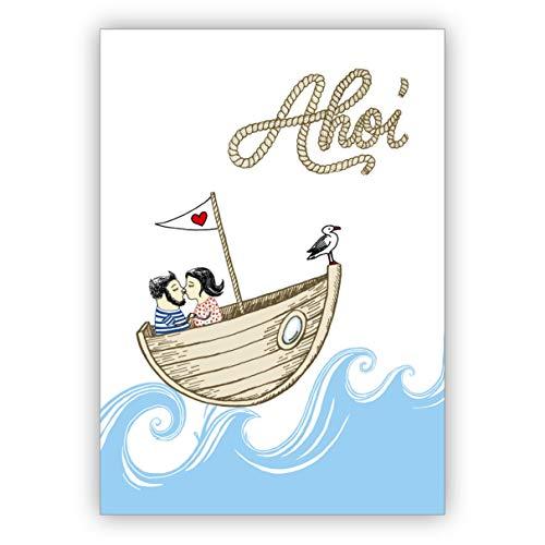 Romantische liefdeskaart ook voor bruiloft met koppels in de boot: Ahoi • mooie vouwkaart met envelop als wenskaart