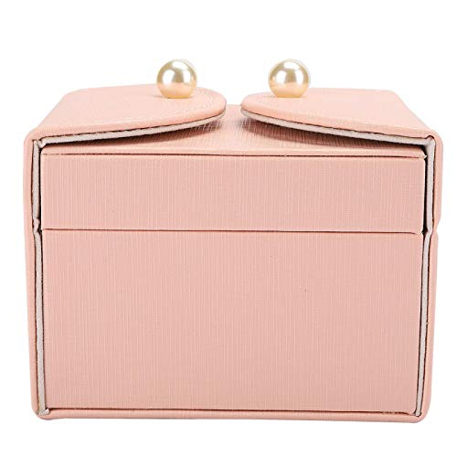 PU 1Pcs Jewelry Storage Case, Beautiful Jewelry Storage with Different Slots 3 Colors Earrings Storage Box, Ear Stud for Home Earrings Travel Use(Pink)