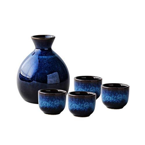HongTeng Estilo japonés Conjunto Sake, Azul Mini Cadera de cerámica Botella de Vino de la Vendimia de Botella de Alcohol Vaso Petaca