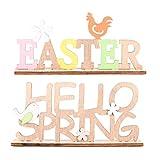 PRETYZOOOM 2 pezzi in legno con scritta pasquale Easter Hello Spring con uccelli, fiori di gallina, decorazione da tavolo per Pasqua, feste, festival, tavolo della casa di campagna