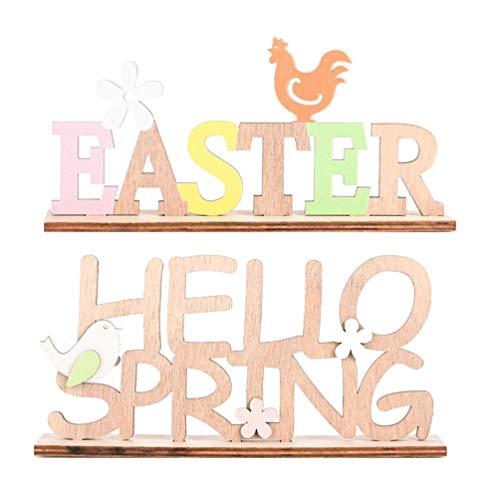 PRETYZOOM 2 Stück Holz Schriftzug Osterdeko Easter Hello Spring mit Vögelchen Blumen Huhn Desktop Ornament Ostern Party Festival Tisch Hause Bauernhaus Dekoration