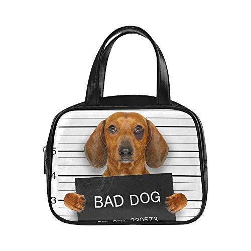 LONGYUU Reise-Einkaufstasche Dackel-Wurst-Hund, der eine Polizeidienststelle-Damen-Einkaufstaschen-Handtaschen-Handtaschen-Mann-PU-Leder-Spitzen-Griff-Ranzen-Mann-Handtasche hält