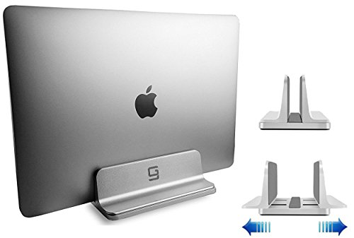 GodSpin Adjustable Laptop Stand Dock | Compatible with All Apple MacBook Pro Air, HP, Dell, Acer, Lenovo, Microsoft Silver