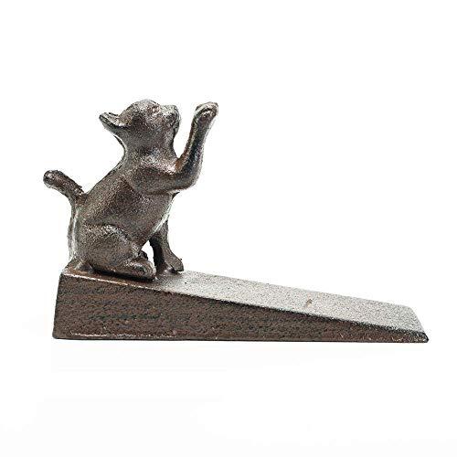 Sungmor Butée de porte en fonte solide avec tapis antidérapant – forme de chat mignon et style antique – Butée de porte décorative – Support de porte coupe-vent – Parfait pour tout type de sol