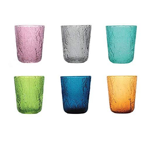 Pagano Home 6 vasos de cristal para agua/wisky, colores surtidos, multicolor, capacidad 300 ml Pmontego (rojo, transparente, lila, verde, naranja celeste)