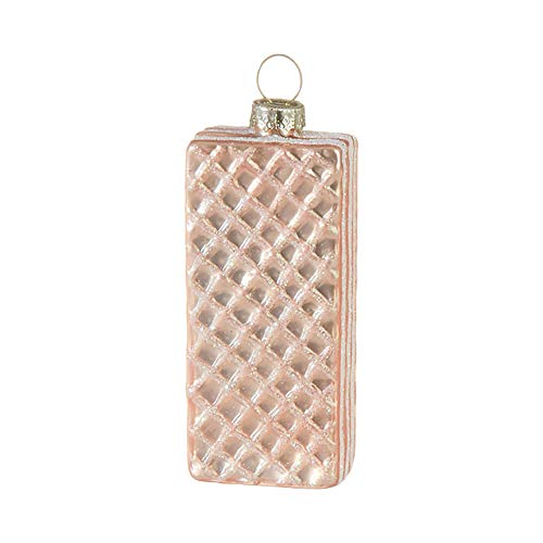 Raz Blush Pink Wafer Cookie 3.25 inch Glass Decorative Christmas Ornament