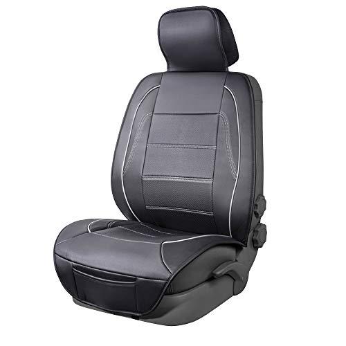AmazonBasics – Luxuriöser Sitzbezug, seitenlos, universale Passform, aus Kunstleder, schwarz mit grauen Linien