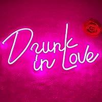Divatla Drunk In Love ネオンサイン、5v USB電源調光スイッチ付き素敵なネオンライトピンクネオンサイン 壁の装飾に夢中