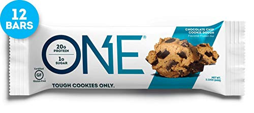 Price comparison product image ONE Protein Bars,  Chocolate Chip Cookie Dough,  Gluten Free Protein Bars with 20g Protein and only 1g Sugar,  Guilt-Free Snacking for High Protein Diets,  2.12 oz (12 Pack)