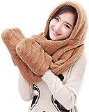 miwaimao 3 in 1 - Set di 3 paia di guanti invernali da donna, con cappuccio, per sciarpa, cappello, sciarpa, set da 3 pezzi, caffè